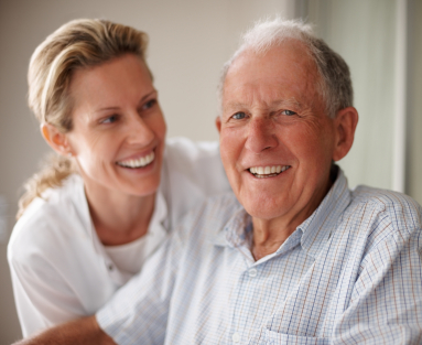 Senior Man With in Home Caregiver